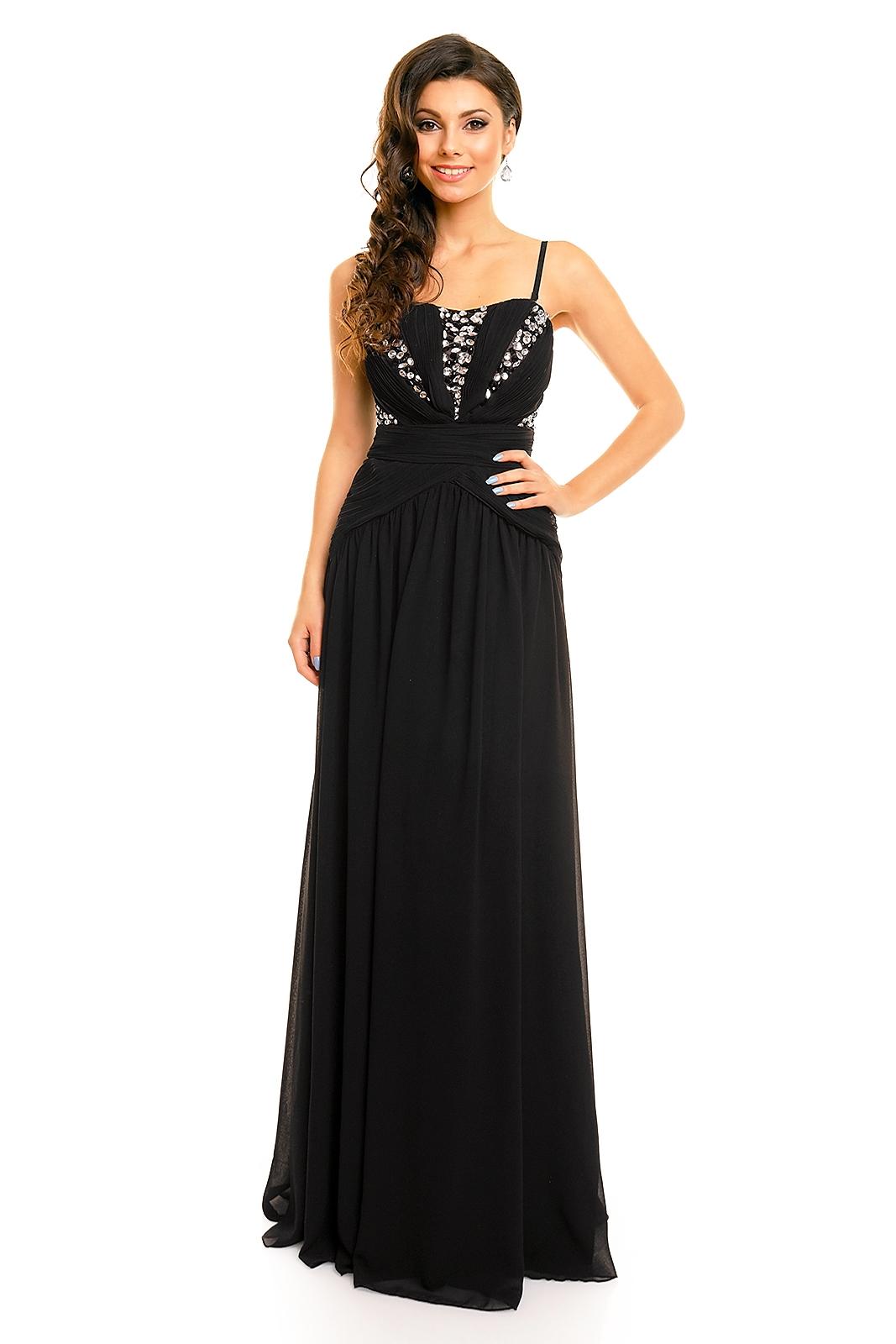 395a10f502a Dámské společenské a plesové šaty zdobené kamínky EVA LOLA 2517 černá