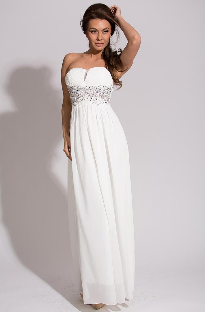 Eva   Lola dámské plesové a společenské dlouhé šaty 2683 bílá a0dff87280