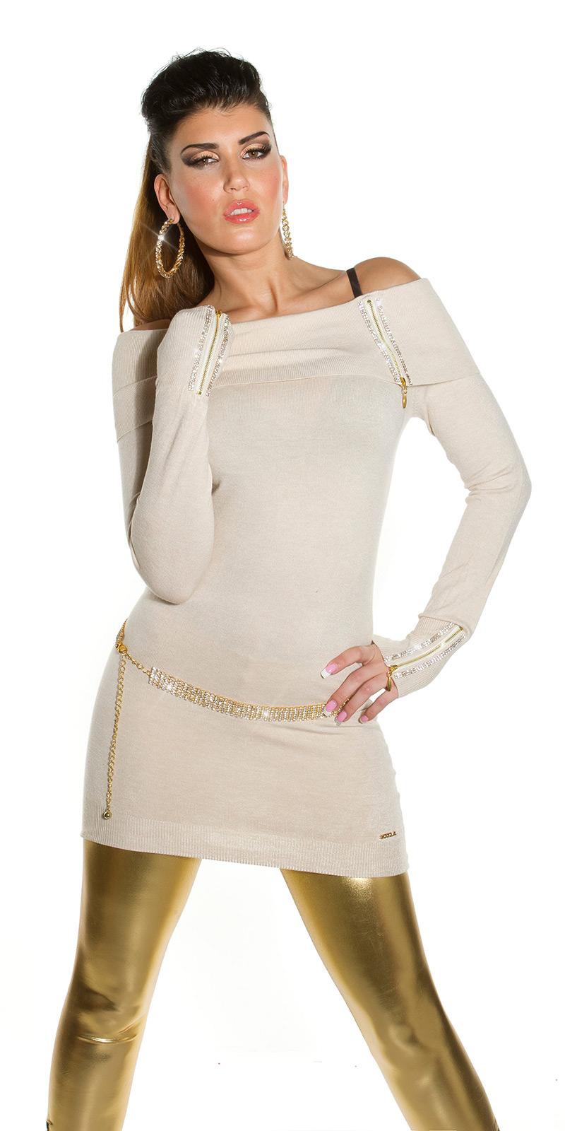 Dámský luxusní dlouhý svetr se zipem Koucla béžová 253343fc96