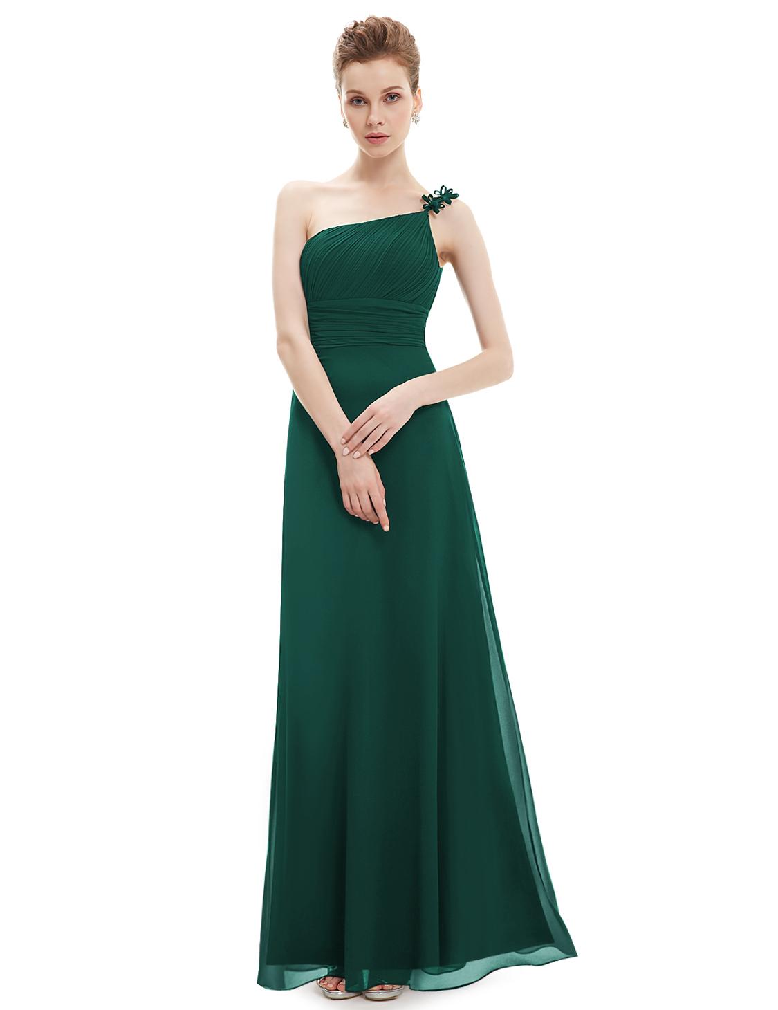 13a4c2e7361 Plesové dlouhé šaty na jedno rameno Ever Pretty zelená