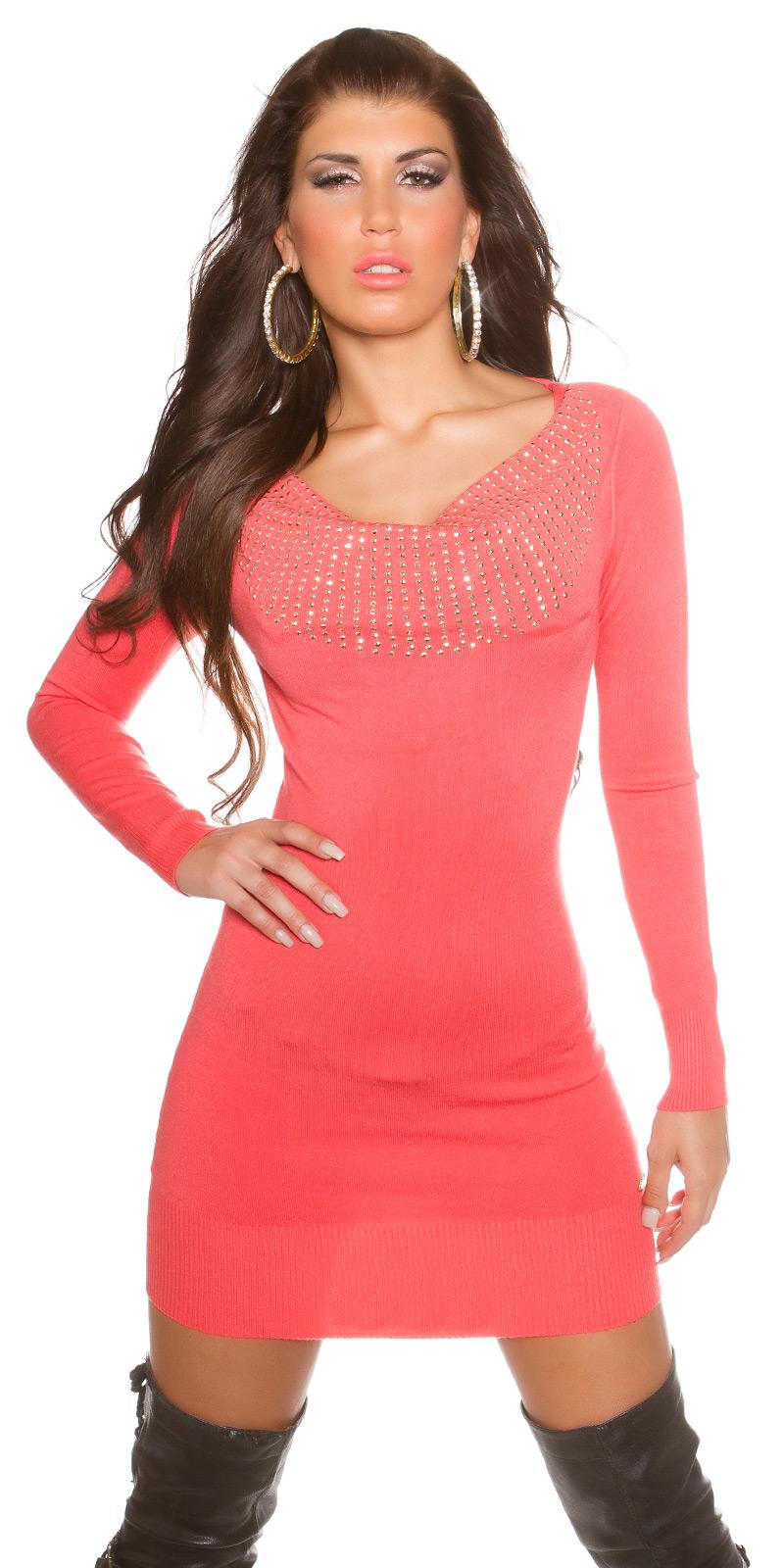 Dámský luxusní dlouhý svetr mini šaty s kamínky Koucla coral 8bbf55aac5