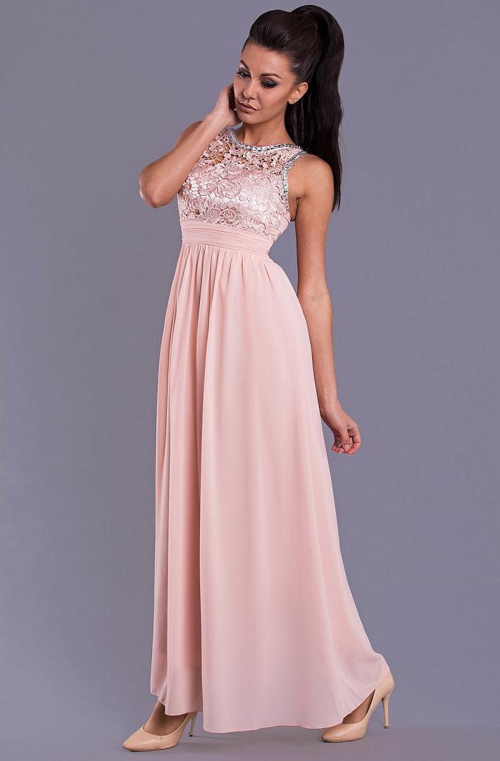 Dámské společenské šaty s krajkou růžová 650a4582d5