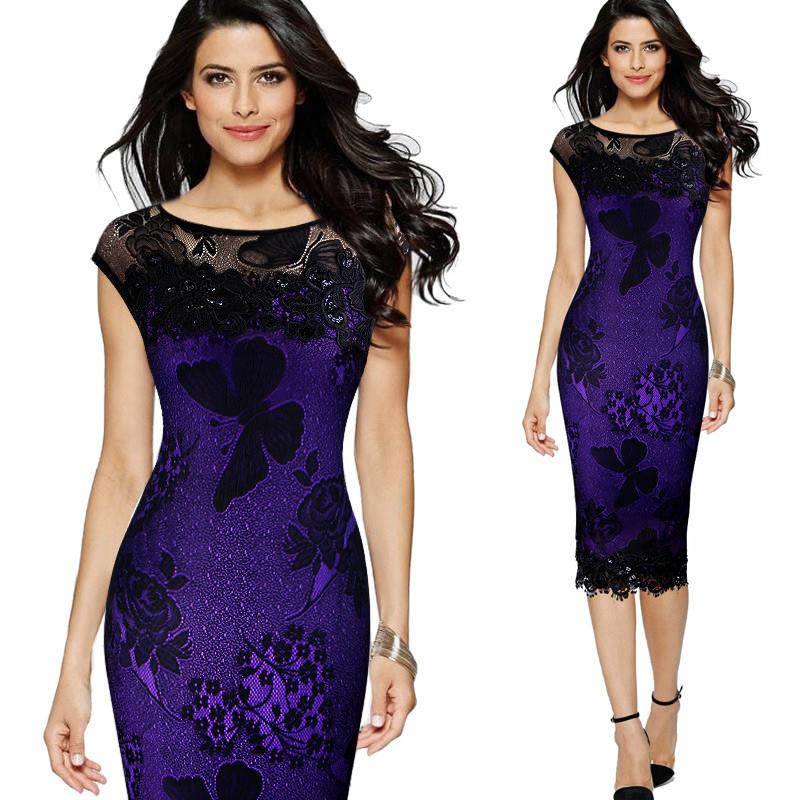 Společenské šaty krajkové fialová 7741b031b5