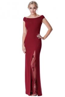 Společenské dlouhé šaty s flitry vínová ... b96730632f