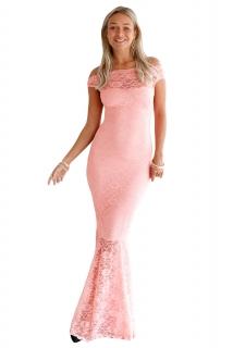bb6eb2da10c Večerní dlouhé šaty večerní dlouhé krajkové šaty růžová empty